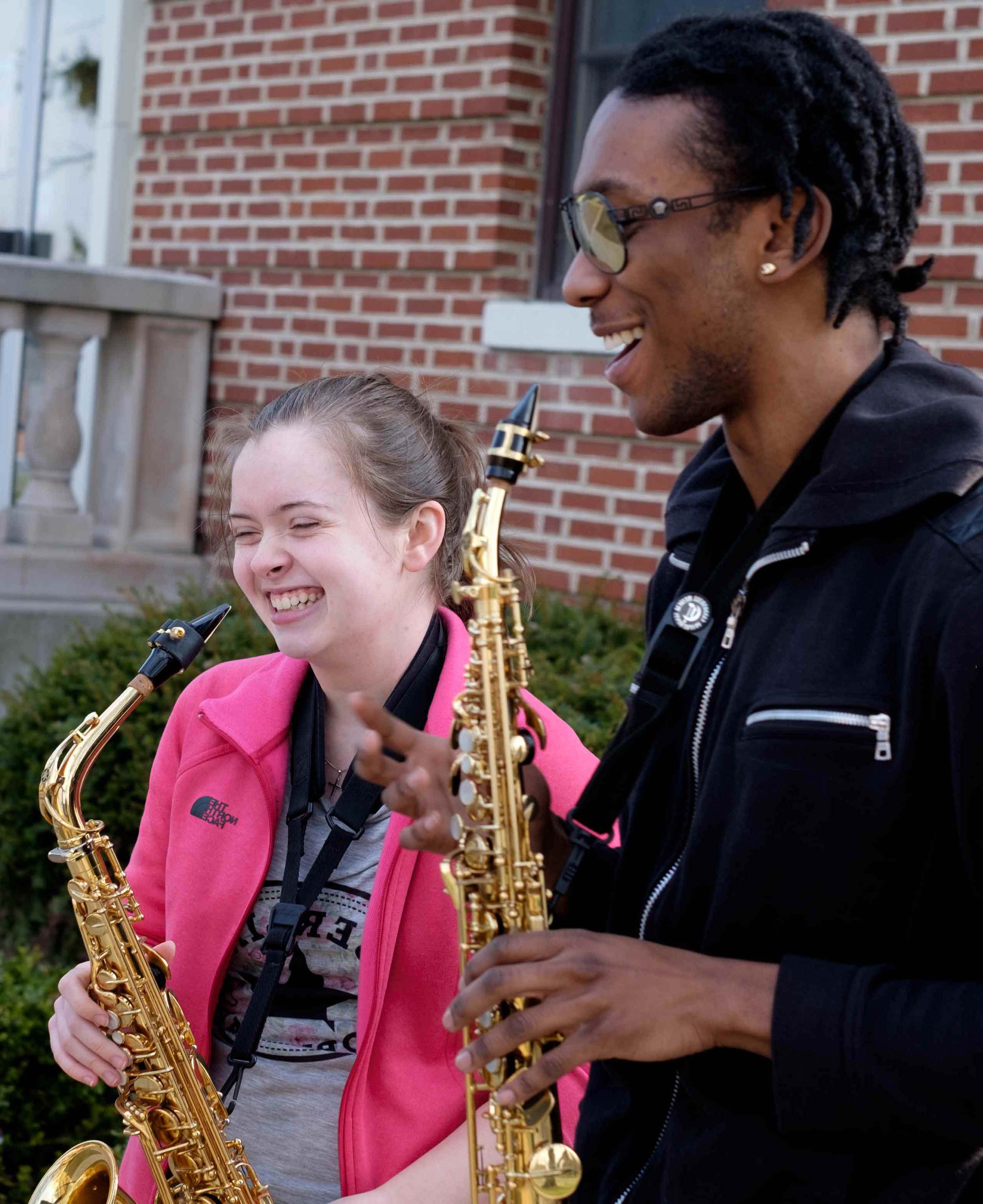 music students playing outside